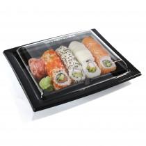 Pz 25 vaschetta nera per sushi,sashimi,pesce 420 ml+coperchio