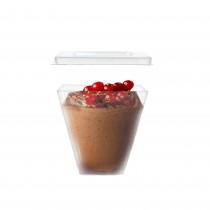 pz 50 monoporzione forma cubo cc 150 + coperchio elegante in plastica trasparente ideale per dolci frutta mousse glasse