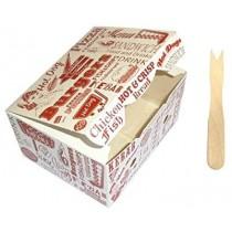 PZ 50 Porta crocchette formato piccolo in cartoncino per asporto alimenti + PZ 1000 Forchettine in legno a 2 punte
