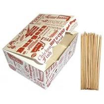 PZ 50 Porta crocchette formato grande in cartoncino per asporto alimenti + PZ 100 Spiedini da cm 15 in bamboo