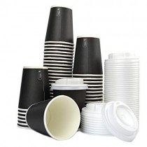 pz 100 bicchiere nero 9oz (266 ml) in carta alto 9,5 x diametro 7,5 per caffe +coperchi bianchi con beccuccio