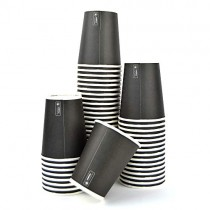 pz 100 bicchiere nero 9oz (266 ml) in carta alto 9,5 x diametro 7,5 per caffe
