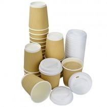 pz 100 bicchiere zigrinato avana ml 250 in cartone termico ondulato + pz 100 coperchi in plastica con beccuccio