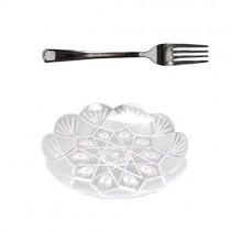 pz 50 piattino trasparente decorato a fiore 12,5 cm diametro + pz 50 forchette in plastica color argento