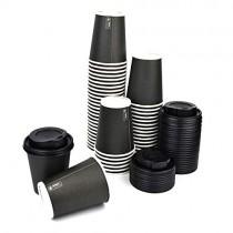 pz 100 bicchiere nero 9oz (266 ml) in carta alto 9,5 x diametro 7,5 per caffe +coperchi neri con beccuccio
