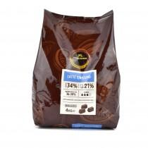 kg 4 cioccolato al latte finissimo senza glutine gusto intenso di latte con note di mou cacao min. 34% ideale per gelati e mousse, pralineria, farciture