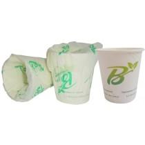 PZ 50 Bicchiere da cc 150 (6 oz) biodegradabile compostabile incartato singolarmente in carta biologica per bevande calde e fredde 100% bio