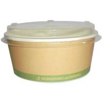 PZ 25 Ciotola rotonda in carta biodegradabile e compostabile + coperchio, contenitore biologico per alimenti