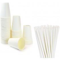 Pz 100 Bicchieri riciclabili da ml 420 in carta bianca + pz 150 cannucce bianche compostabli