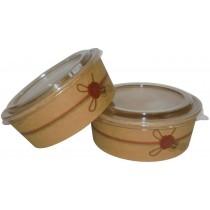 PZ 25 Insalatiera rotonda in cartoncino + coperchio, contenitore in carta per insalate ed alimenti da asporto