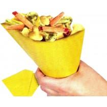 PZ 250 Astuccio porta patatine e fritti in carta paglia a forma di cono con tovagliolo + pz 500 Spiedini da cm 15