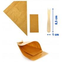 PZ 100 Astuccio porta patatine e fritti in carta paglia a forma di cono con tovagliolo + pz 1000 Forchettine da cm 8,5