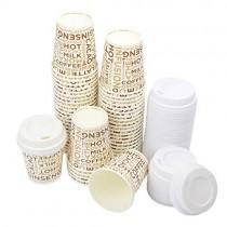 pz 100 bicchieri in carta cl 10 (4 oz) decorati+pz 100 coperchi bianchi con beccuccio per asporto caffe