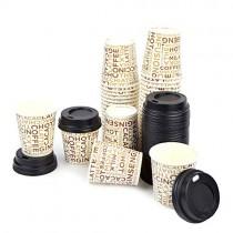 pz 100 bicchieri in carta cl 10 (4 oz) decorati+pz 100 coperchi neri con beccuccio per asporto caffe