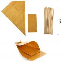 PZ 100 Astuccio porta patatine e fritti in carta paglia a forma di cono con tovagliolo + pz 100 Spiedini da cm 15