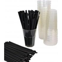 Kit promozionale pz 40 Bicchiere trasparente compostabile ecologico da 300 CC + pz 250 cannucce cucchiaio nere biodegradabili
