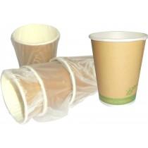 PZ 50 Bicchiere da ml 266 (9 oz) biodegradabile compostabile incartato singolarmente in carta biologica per bevande calde e fredde 100% bio