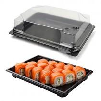 pz 25 vaschetta nera per sushi, sashimi, pesce ideale per l'asporto di circa 6/8 porzioni + coperchio trasparente