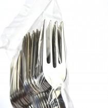 PZ 25 Forchettine in plastica cromata da cm 13 color silver argento