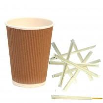 Kit Promozionale pz 200 Bicchieri termici in cartone da ml 250 + pz 1000 Palette in legno da cm 19