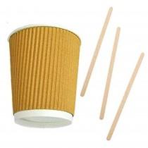 Kit Promozionale pz 100 Bicchieri termici in cartone da ml 250 + pz 1000 Palette in legno da cm 11