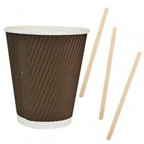 Kit Promozionale pz 100 Bicchieri termici in cartone da ml 350 + pz 1000 Palette in legno da cm 11