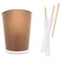 Kit Promozionale pz 100 Palette in legno da cm 19 incartate + pz 100 Bicchieri termici in cartone da ml 480 (16 OZ)