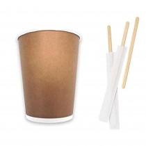Kit Promozionale pz 100 Palette in legno da cm 10 incartate + pz 100 Bicchieri termici in cartone da ml 250 (9 OZ)