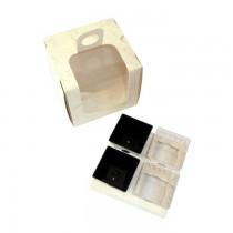 PZ 10 Scatola da 4 con finestra per asporto monoporzioni piccole (cc 60) color panna