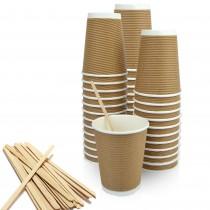 pz 100 bicchieri cappuccino marrone chiaro 420 ml h 11 cm x 8 cm diametro + pz 100 stecche incartate 19 cm