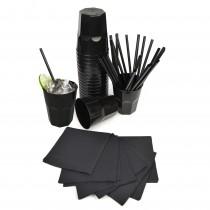 pz 100 bicchieri neri 270 cc + pz 100 tovaglioli neri 25x25 + pz 100 cannucce nere 21 cm ideale per feste e party