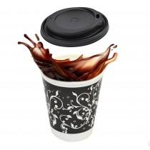 pz 100 bicchieri 450 ml in carta decorato + pz 100 coperchio nero con beccuccio per cappuccino e caffe
