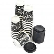 pz 100 bicchieri 280 ml in carta decorato + pz 100 coperchio nero con beccuccio per cappuccino e caffe