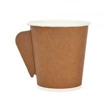PZ 100 Bicchiere con manico da cl 10 (4 Oz) in cartoncino marrone per caffè da asporto