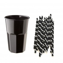 Pz 60 Bicchieri da cc 400 neri in plastica + pz 150 cannucce bianche e nere