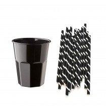 Pz 60 Bicchieri da cc 270 neri in plastica + pz 150 cannucce bianche e nere