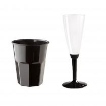 Kit Promozionale pz 100 Bicchiere nero da cc 270 riurilizzabile + pz 100 Calici per champagne e prosecco con base nera
