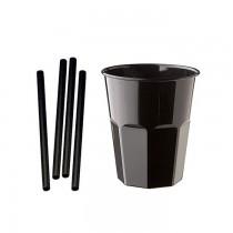 Kit promozionale pz 100 Bicchiere nero da 270 CC + pz 1000 cannucce nere da 13 cm