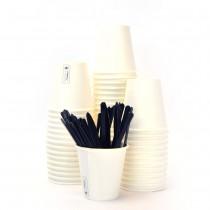 Kit Promozionale pz 100 Palette in plastica da cm 9,4 + pz 100 Bicchierini bianchi in cartone da cl 8 (3 oz)