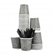 Kit Promozionale PZ100 bicchieri neri decorati con scritte in carta per caffè da cl 8 (3 oz) + pz 100 palette rigide nere bicchierino per caffe