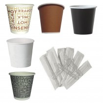 Kit Promozionale pz 500 Bicchierini da caffè in cartone da cl 8 + pz 500 Palettine in plastica incartate singolarmente