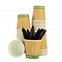 Kit Promozionale PZ 100 bicchieri biodegradabili in carta per caffè da cl 8 (3 oz) + pz 100 palette rigide