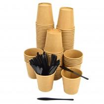 Kit Promozionale pz 100 bicchieri avana in carta per caffè da 2.5 oz + pz 100 palette rigide nere bicchierino per bevande calde come caffe
