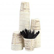 Kit Promozionale PZ 100 bicchieri bianchi decorati con scritte in carta per caffè da cl 8 (3 oz) + pz 100 palette rigide nere bicchierino per caffe