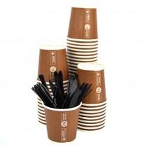Kit Promozionale PZ 100 bicchieri marroni da caffè in cartone da cl 8 e PZ 100 palettine in plastica nera per caffè