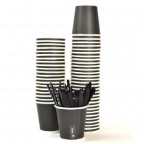 Kit Promozionale pz 100 Palette in plastica da cm 9,4 + pz 100 Bicchierini neri in cartone da cl 8 (3 oz)