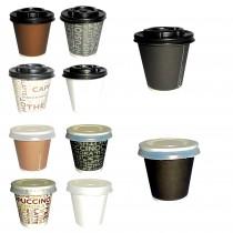 PZ 100 Bicchieri da caffe' da cl 8 (3 Oz) in cartone per bevande calde + coperchio