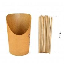 PZ 100 Astuccio per patatine in cartoncino + PZ 100 Spiedini da cm 15 in bamboo