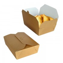 pz 20 food box avana in carta 15,2x12x6,5h bio con coperchio richiudibile ideale per l'asporto