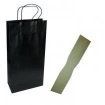 PZ 10 Busta porta bottiglie nera con cordino (2 bottiglie) + divisorio in cartone